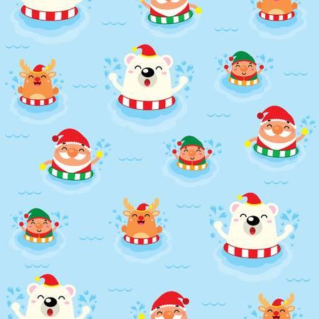 swimming-santa-claus